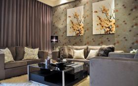 灰色简欧风格客厅沙发背景墙设计案例