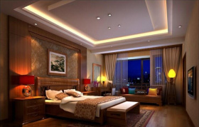 中式创意卧室吊顶设计图