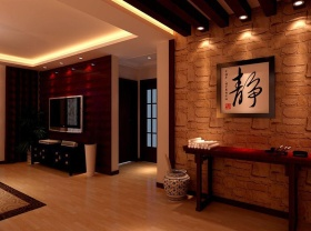 红色雅致中式风格玄关装修设计