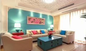 蓝色创意新中式客厅吊顶欣赏