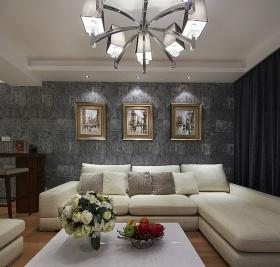 简约风格灰色客厅吊顶装修布置