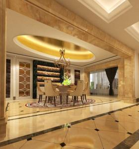 大气欧式风格橙色餐厅吊顶设计图