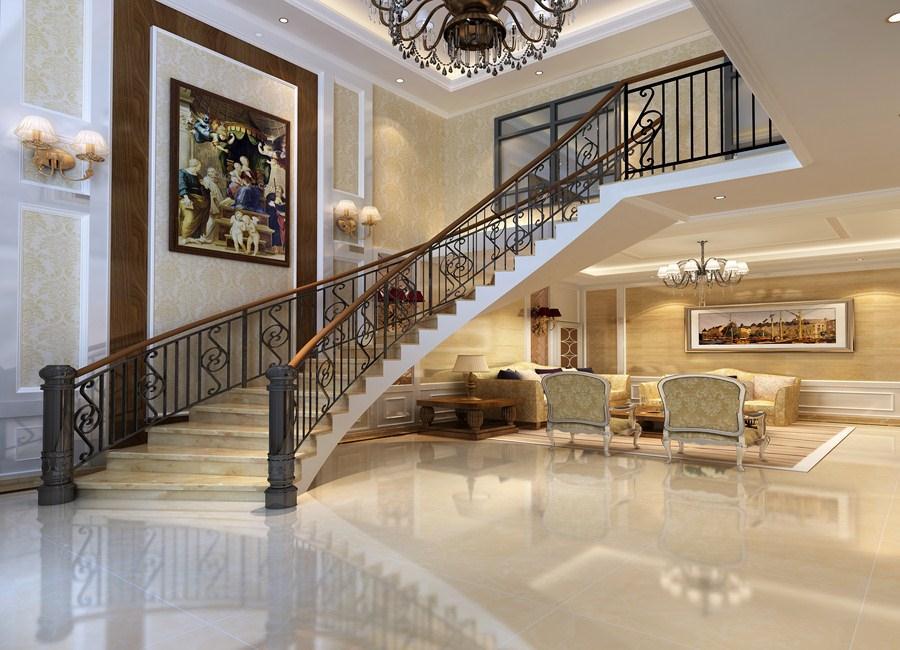 2016大气米色欧式风格楼梯装修图片
