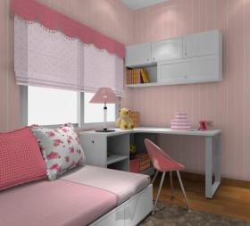 简约风格粉色儿童房转角书柜图片赏析