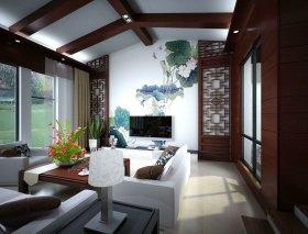 雅致中式风格客厅吊顶效果图设计