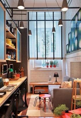 橙色现代风格书房装修图片