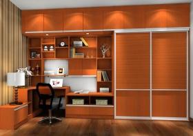 混搭风格橙色书柜效果图赏析