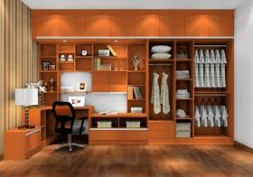 橙色混搭衣柜设计