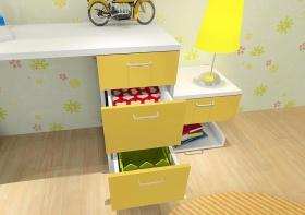 黄色田园儿童房橱柜设计案例