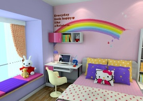 紫色温馨混搭风格儿童房装修设计
