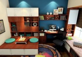 蓝色简欧风格书房飘窗装修图