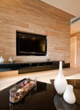 时尚素雅简约风格橙色客厅电视背景墙装修图