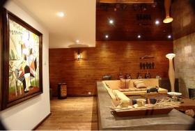 黄色美式风格客厅背景墙装修