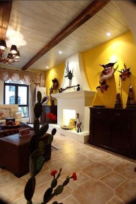 黄色东南亚风格客厅背景墙欣赏