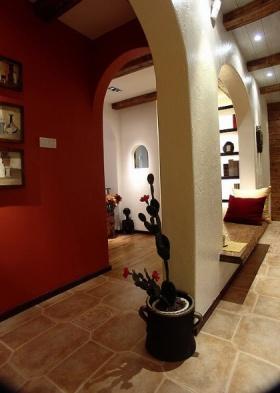 红色美式背景墙装修效果图片