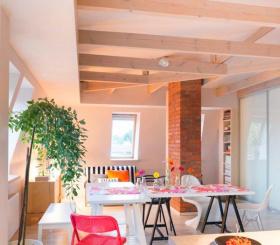美式粉色少女风餐厅装修效果图