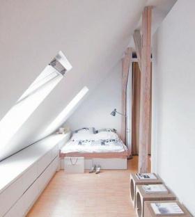 白色宜家风格阁楼装潢案例