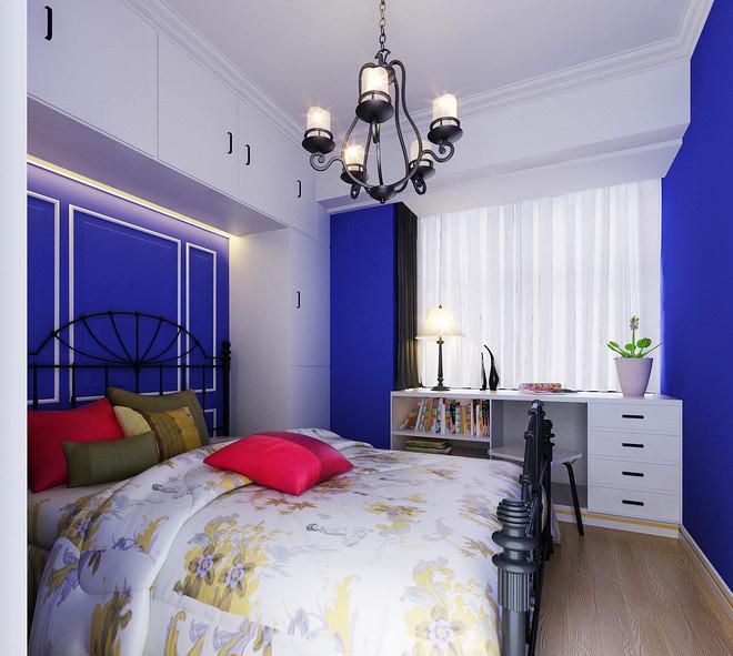 田园风格个性蓝色卧室装修效果图
