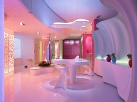 2016紫色混搭风格餐厅吊顶装潢设计