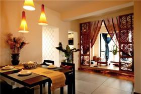 中式大气橙色餐厅榻榻米装修图片