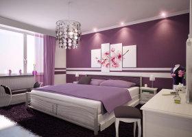 紫色简约风格卧室装修图片