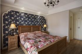 米色田园风格卧室床头背景墙装修效果图