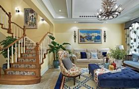地中海风格黄色客厅吊顶装修布置