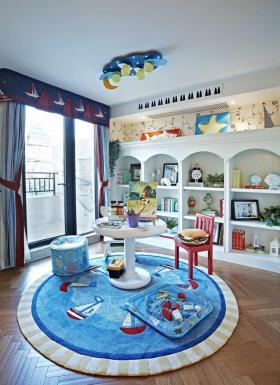 地中海蓝色儿童房吊顶设计图片