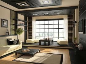 黄色中式客厅榻榻米装饰案例