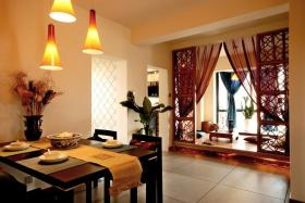 新古典橙色餐厅榻榻米装修图