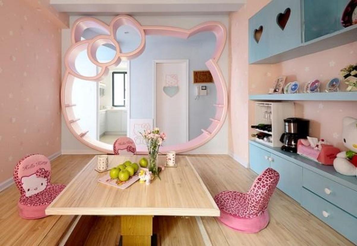 粉色现代风格HelloKitty风格儿童房榻榻米装潢设计