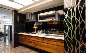 黑色混搭风格厨房橱柜设计案例