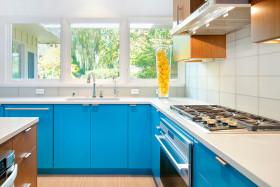 蓝色简约风格个性厨房装潢案例