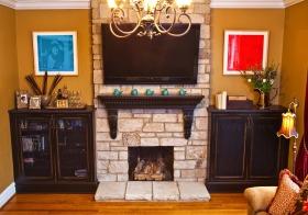 橙色欧式风格背景墙装修图