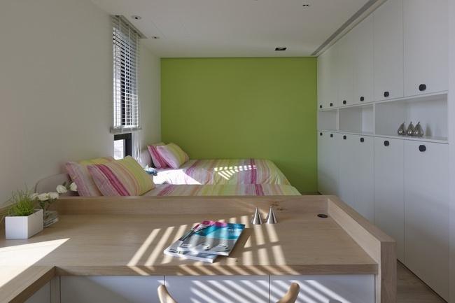 绿色清新简约风格卧室装修图片