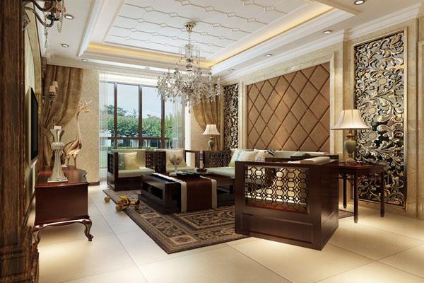 欧式风格大气褐色客厅装修案例