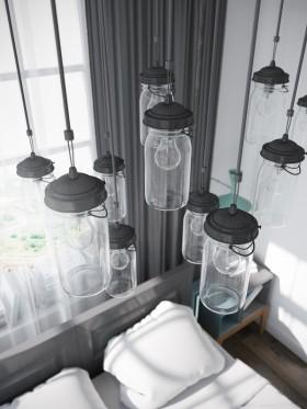 灰色创意混搭风格吊顶设计