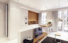 白色北欧风格客厅半高电视墙隔断装潢