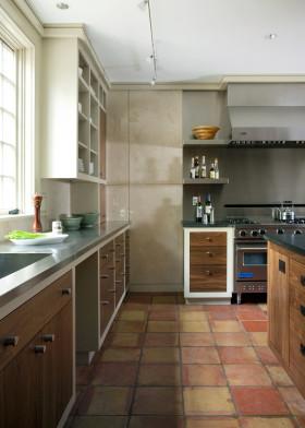 原木色美式风格厨房橱柜装修图