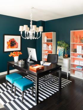 创意精致欧式风格蓝色书房设计效果图