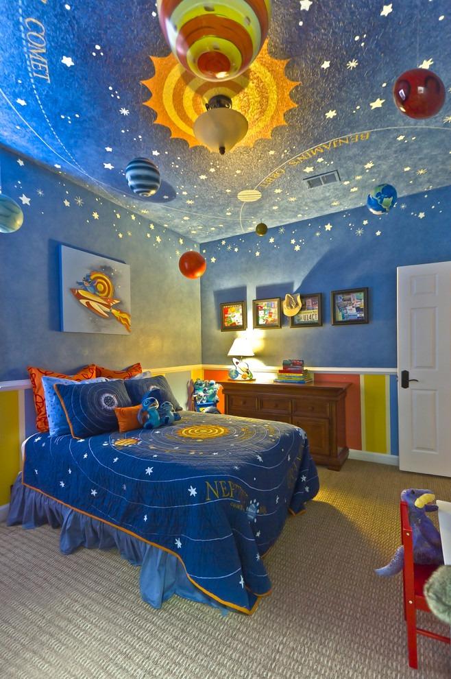 欧式风格蓝色儿童房吊顶设计案例