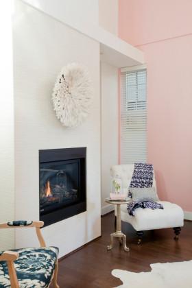 粉色简欧风格客厅背景墙装修设计