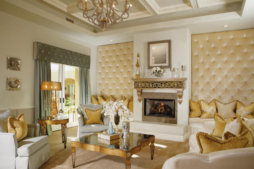 2016黄色轻奢欧式风格客厅装修案例图片