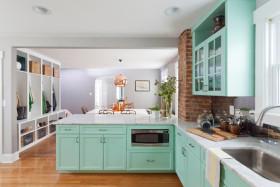 地中海清新厨房橱柜效果图欣赏