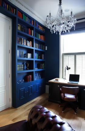 浪漫精致地中海风格蓝色书房装潢案例