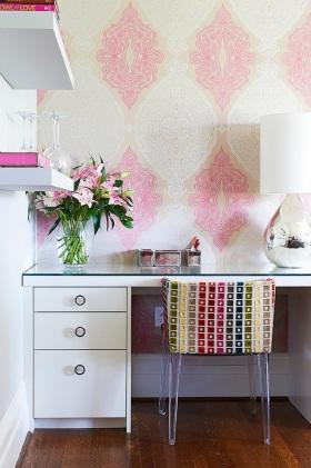 粉色混搭风书房装潢案例