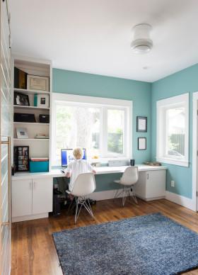 蓝色清爽宜家风格书房设计装潢
