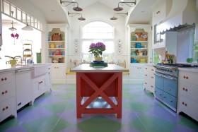 田园风格蓝色清新厨房橱柜美图