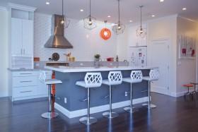蓝色清新简约风格厨房吧台欣赏