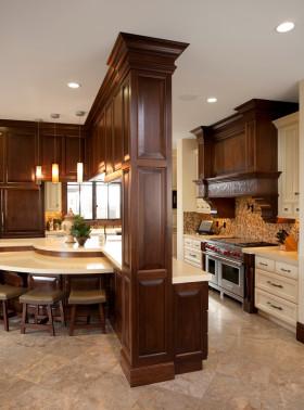 美式风格厨房吧台图片赏析